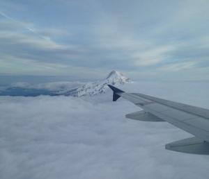 plane over mount hood