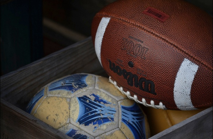 soccer ball and football