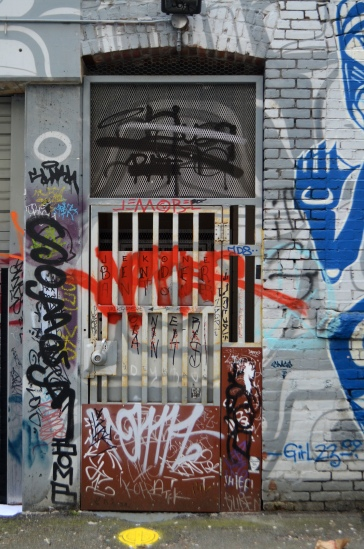 downtown Vancouver graffiti door