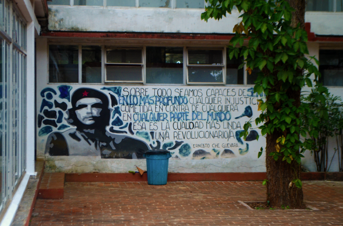 Wall art displaying the image of Che Guevara and a message of inspiration about revolution.