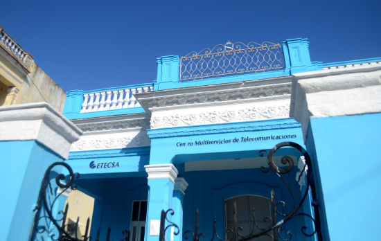 The ETECSA is a bright blue building where you go to purchase internet cards.