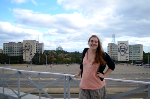 American girl on plaza de la revolucion in Havana Cuba