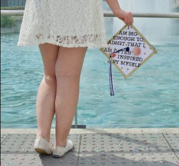 "Graduation cap with the words ""I am big enough to admit that I am often inspired by myself."""