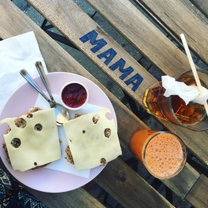 A traditional Danish breakfast at a cafe in Copenhagen