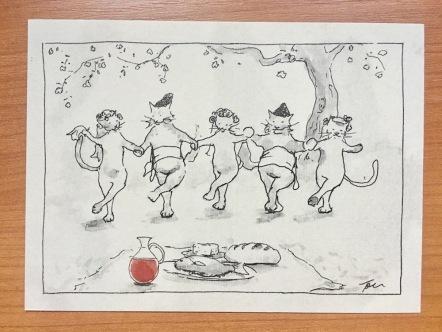 Tommi Nordgren postcard of Balkan cats dancing the Bulgarian hora