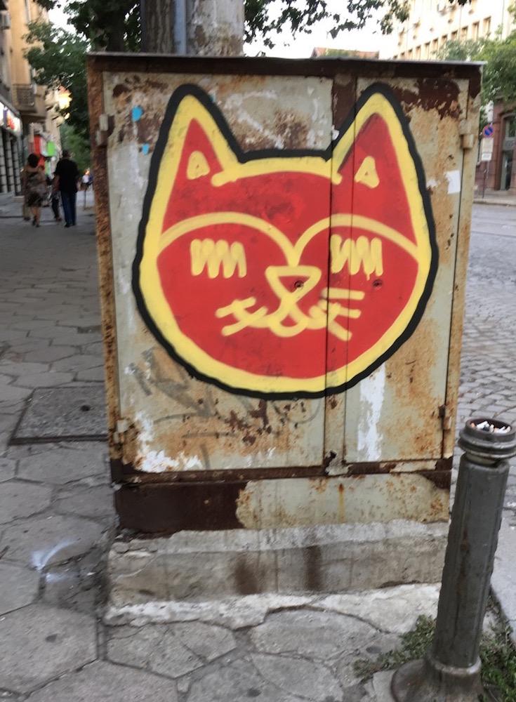 Street art of a cat face